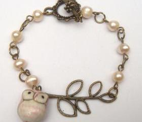 Antiqued Brass Branch Porcelain Owl Pearl Bracelet