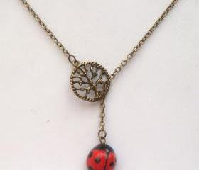Antiqued Brass Tree Porcelain Ladybug Lariat Necklace