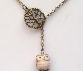 Antiqued Brass Tree Pink Porcelain Owl Lariat Necklace