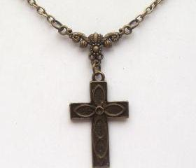 Antiqued Brass Cross Necklace
