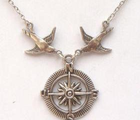 Silver Bird Compass Necklace