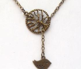 Antiqued Brass Tree Bird Lariat Necklace
