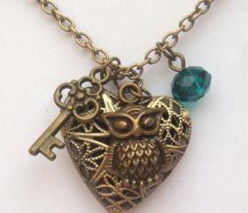 Antiqued Brass Owl Key Heart Locket Quartz Necklace