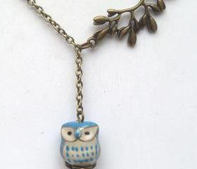 Antiqued Brass Leaf Porcelain Owl Necklace