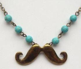 Antiqued Brass Mustache Turquoise Necklace