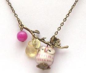 Antiqued Brass Leaf Quartz Jade Purple Porcelain Owl Necklace