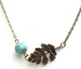 ON SALE - Antiqued Brass Leaf Green Turquoise Necklace