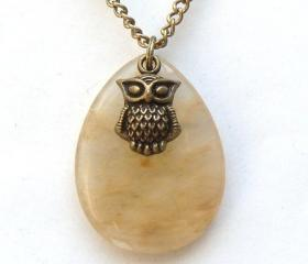 Antiqued Brass Owl Snowfake Quartz Necklace