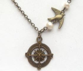 Antiqued Brass Compass Bird Pearl Necklace