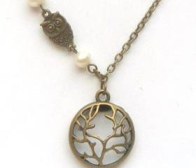 Antiqued Brass Tree Owl Pearl Necklace