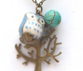 Antiqued Brass Tree Turquoise Quartz Porcelain Owl Necklace