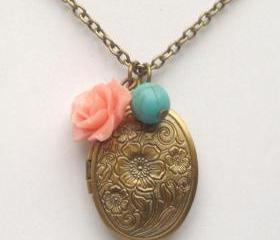 Antiqued Brass Flower Turquoise Locket Necklace