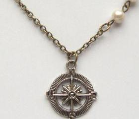 Antiqued Brass Compass Pearl Necklace