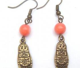 Antiqued Brass Matryoshka Pink Coral Earrings