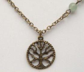 Antiqued Brass Tree Green Jade Necklace
