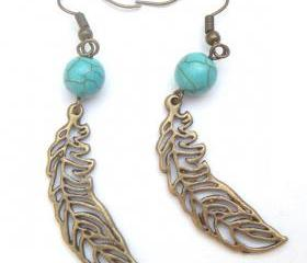 Antiqued Brass Leaf Turquoise Earrings