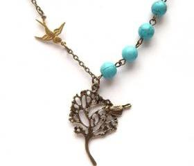 Antiqued Brass Tree Bird Green Turquoise Necklace