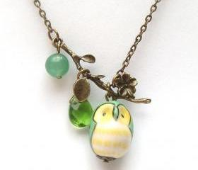 Antiqued Brass Leaf Green Quartz Jade Porcelain Owl Necklace