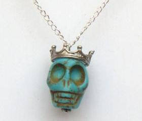 Silver Plated Crown Turquoise Skull Necklace