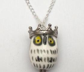Silver Plated Crown Porcelain Owl Necklace