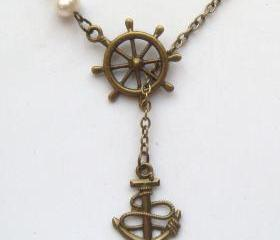 Antiqued Brass Anchor Helm Pearl Lariat Necklace