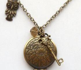 Antiqued Brass Owl Key Quartz Locket Necklace
