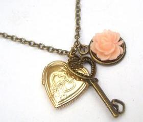 Antiqued Brass Key Flower Locket Necklace