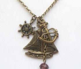 Antiqued Brass Helm Anchor Boat Quartz Necklace