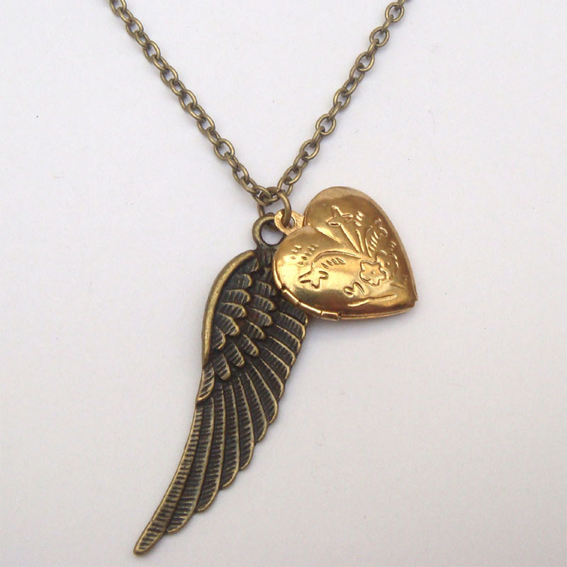 antiqued brass wing locket necklace on luulla